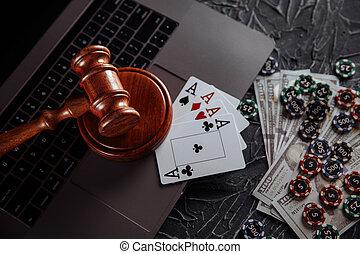 ordinateur portable, justice, juge, clavier, thème, jouer, chips, marteau, cartes, ligne, bois, jeux & paris