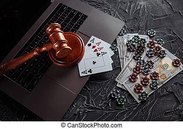 ordinateur portable, justice, juge, clavier, thème, jouer, chips, marteau, cartes, ligne, jeux & paris