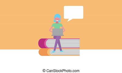 ordinateur portable, livres, utilisation, femme, jeune