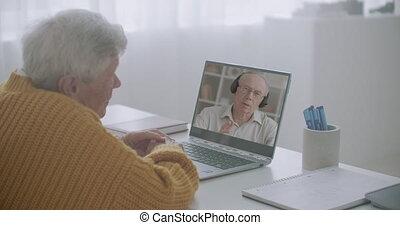 ordinateur portable, mâle, amis, technologie, vieux, vidéo, internet, bavarder, moderne, communication, remotely, deux, appeler, utilisation