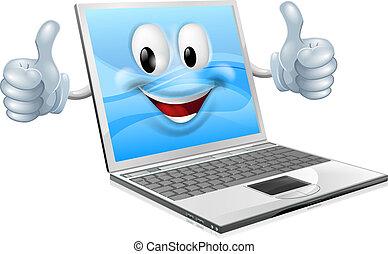 ordinateur portable, mascotte, homme