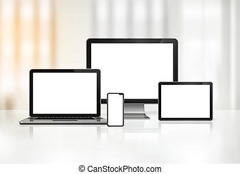 ordinateur portable, mobile, tablette, informatique, numérique, pc, téléphone