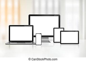 ordinateur portable, mobile, tablette numérique, informatique, téléphone, pc