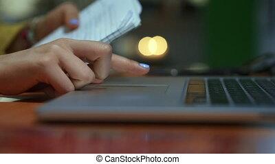 ordinateur portable, nuit, étudiant université, dactylographie, girl