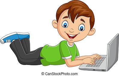 ordinateur portable, opération, dessin animé, garçon, plancher, pose