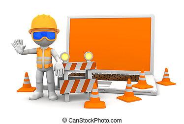 ordinateur portable, ouvrier industriel