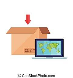 ordinateur portable, paquet, informatique, boîte