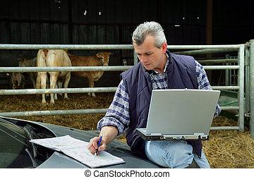 ordinateur portable, paysan
