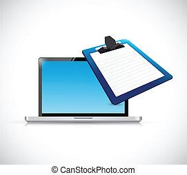 ordinateur portable, presse-papiers, conception, illustration