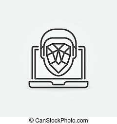 ordinateur portable, reconnaissance, figure, mince, concept, vecteur, ligne, icône