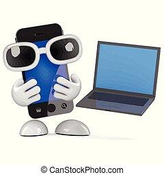 ordinateur portable, smartphone, 3d