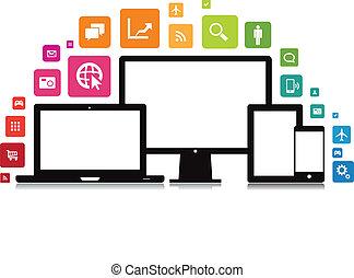 ordinateur portable, smartphone, app, tablette, bureau
