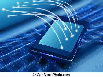 ordinateur portable, smartphone, clavier