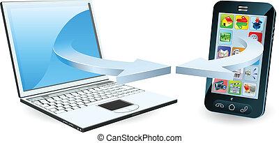 ordinateur portable, smartphone, communiquer
