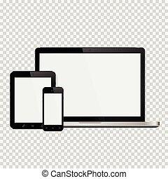 ordinateur portable, smartphone, tablette, mockup