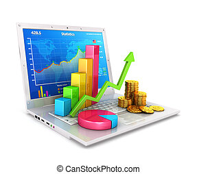 ordinateur portable, statistiques, 3d