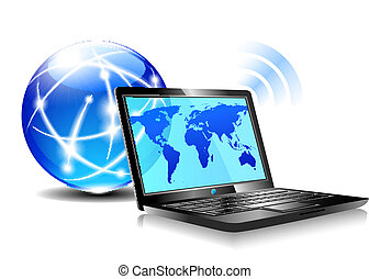 ordinateur portable, surfer, internet