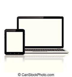 ordinateur portable, tablette, mockup