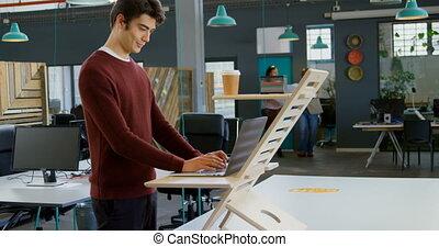 ordinateur portable, utilisation, cadre, 4k, bureau