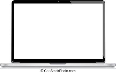 ordinateur portable, vecteur, isolé, bac blanc