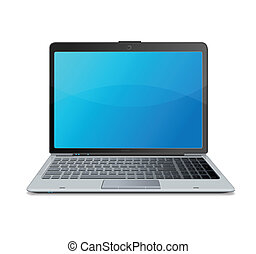 ordinateur portable, vecteur, isolé, blanc
