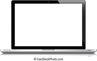 ordinateur portable, vecteur, isolé, blanc, eps