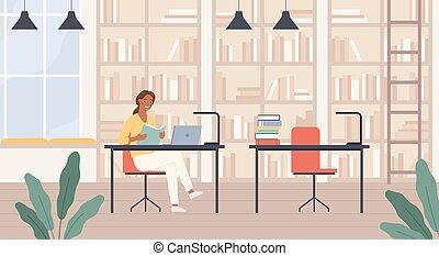ordinateur portable, vecteur, lecture femme, étagères, concept, bibliothèque, intérieur, dame, library., jeune, salle, bureaux, livre, éducation publique