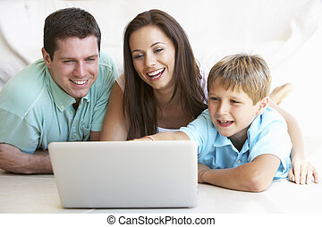 ordinateur portatif, enfant, jeune, parents