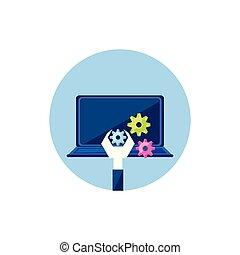 ordinateur portatif, engrenages, clé