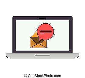 ordinateur portatif, isolé, icône
