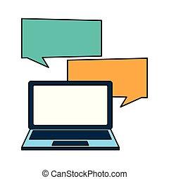 ordinateur portatif, parole, bulles