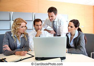 ordinateur portatif, réunion, bureau, business