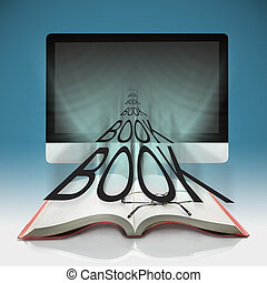 ordinateurs, e-apprendre, livres