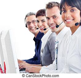 ordinateurs, joyeux, fonctionnement, client, représentants, service