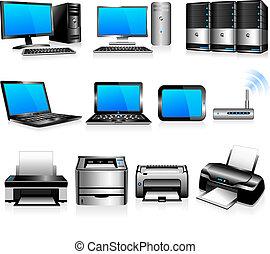 ordinateurs, technologie, imprimantes