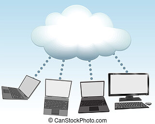 ordinateurs, technologie, relier, nuage, calculer