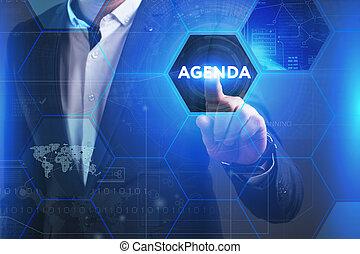 ordre du jour, voit, réseau, concept., fonctionnement, technologie, virtuel, avenir, affaires internet, inscription:, écran, homme affaires, jeune