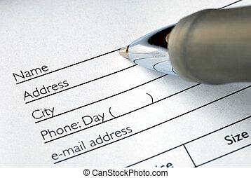 ordre, remplir, nom, formulaire, adresse