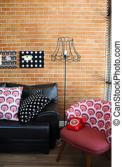 oreillers, coloré, mur, sofa, fond, brique