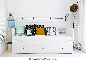 oreillers, coloré, mur, sofa, fond, brique blanche
