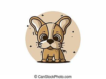 oreilles, kawaii, illustration, grand, chien, mignon
