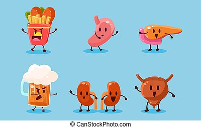 organes, ensemble, illustration, nuisible, nourriture, mauvais, vecteur, habitudes, jeûne, humain, dependance, destruction, alcool