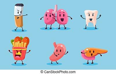 organes, ensemble, nourriture, illustration, nuisible, cigarettes, mauvais, vecteur, habitudes, jeûne, humain, dependance, destruction