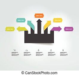 organigramme, flèche, template., diagram.