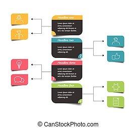 organigramme, infographic, scheme., element., diagramme