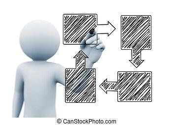 organigramme, personne, conception, flèche, dessin, 3d