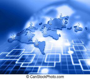 organigramme, réseau, concept affaires