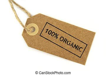 organique, affranchi, noué, étiquette, corde, 100