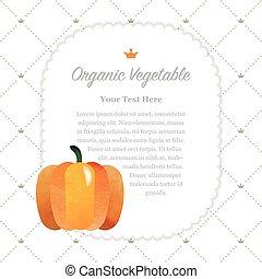 organique, coloré, nature, note, texture, aquarelle, fruit, cadre, citrouille