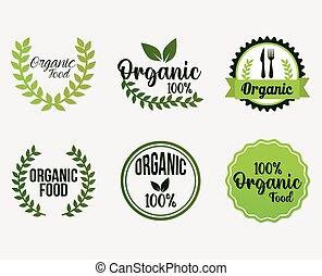 organique, ensemble, nourriture, lettrage